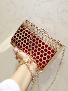 Gold Hollow-out Chain Clutch Bag
