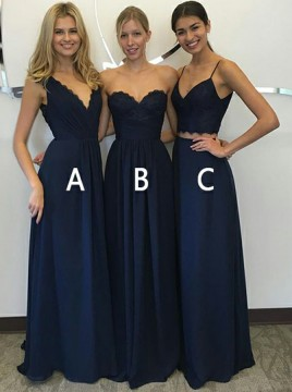 A-Line V-Neck Floor-Length Dark Blue Chiffon Prom Dress with Lace