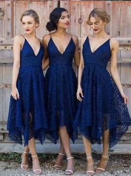 A-Line Spaghetti Straps Asymmetrical Dark Blue Lace Bridesmaid Dress