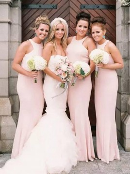 Mermaid Round Neck Long Prom Dress Floor-Length Pearl Pink Bridesmaid Dress