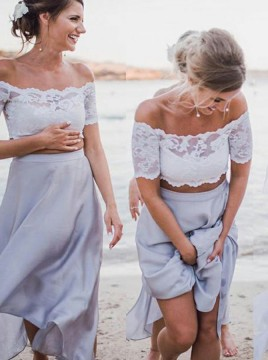 Two Piece Off-the-Shoulder Ankle-Length Lavender Bridesmaid Dress with Lace