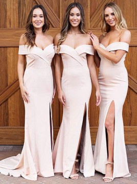 Sheath Off-the-Shoulder Long Pearl Pink Bridesmaid Dress with Split