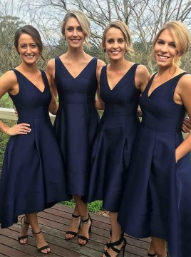 A-Line V-Neck High Low Royal Blue Satin Bridesmaid Dress with Pockets