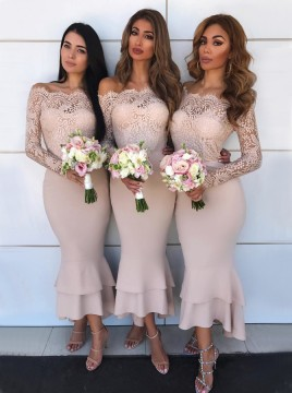 Mermaid Off-the-Shoulder Long Sleeves Blush Bridesmaid Dress with Lace Bodice