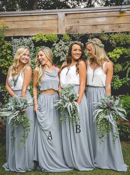 Two Piece Cowl Sleeveless Floor-Length Gray Chiffon Bridesmaid Dress