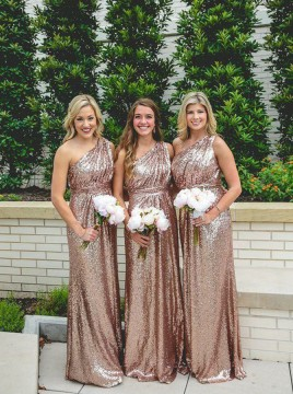Sheath One-Shoulder Floor-Length Sequined Bridesmaid Dress