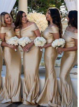 Mermaid Off-the-Shoulder Champagne Sweep Train Bridesmaid Dress