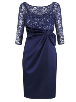 Sheath Bateau 3/4 Sleeves Mother of The Bride Dress with Lace Beading