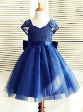 A-Line Square Neck Cap Sleeves Dark Blue Flower Girl Dress with Lace Bowknot