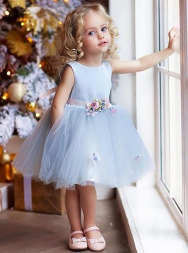 A-Line Round Neck Knee-Length Sky Blue Flower Girl Dress with Flowers