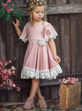 A-Line Round Neck Short Pink Flower Girl Dress with Lace