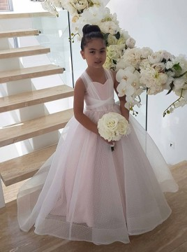 Ball Gown Scoop Criss-Cross Straps Sweep Train Pink Tulle Flower Girl Dress