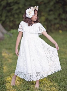 A-line Crew Tea-Length Lace Flower Girl Dress