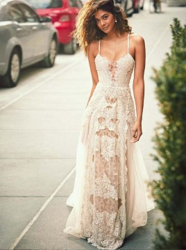 A-Line Spaghetti Straps Appliques Champagne Wedding Dress with Lace
