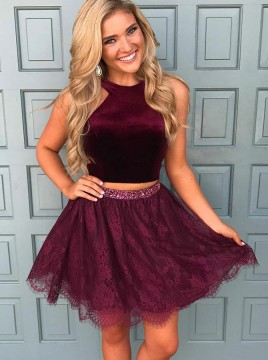 Two Piece Crew Short Burgundy Lace Homecoming Dress with Beading