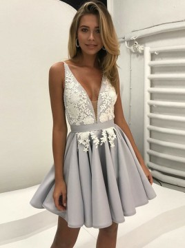 A-Line V-Neck Backless Grey Satin Homecoming Dress with Appliques