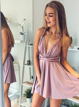A-Line Deep V-Neck Backless Short Blush Convertible Homecoming Dress