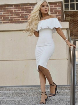 Sheath Off-the-Shoulder Knee-Length White Homecoming Cocktail Dress with Ruffles