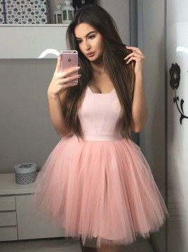 A-Line Square Above-Knee Pink Pleated Homecoming Dress