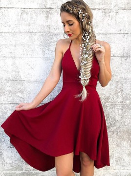 A-Line Spaghetti Straps Sleeveless High Low Red Homecoming Dress