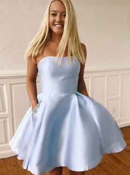 A-Line Strapless Short Blue Homecoming Dress with Pockets Beaded