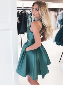 A-Line Round Neck Open Back Hunter Homecoming Dress with Pockets