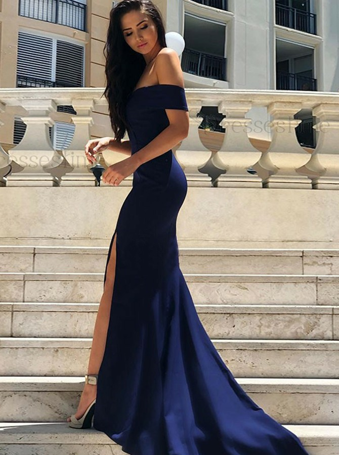 Sheath Off-the-Shoulder Sweep Train Navy-Blue Prom Dress with Split