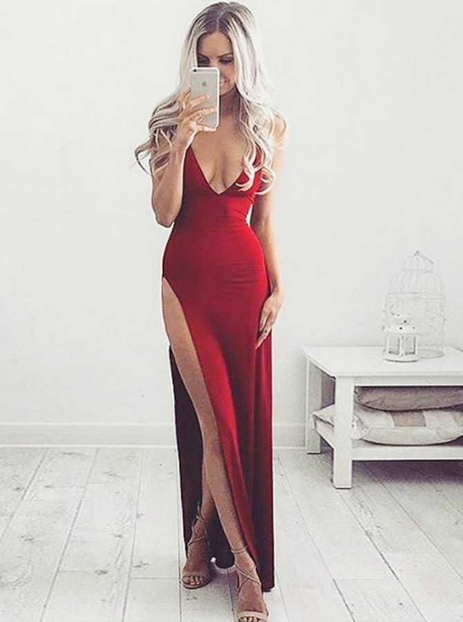 A-Line Spaghetti Straps Floor-Length Red Prom Dress with Split