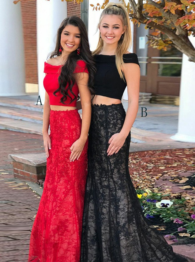 Two Piece Off-the-Shoulder Sweep Train Red Lace Prom Dress with Beading