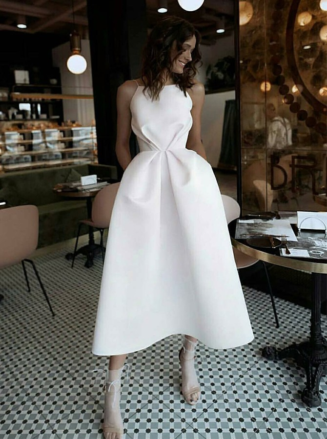 Chic White Spaghetti Straps Prom Dress with Pockets Backless Satin Party Dress