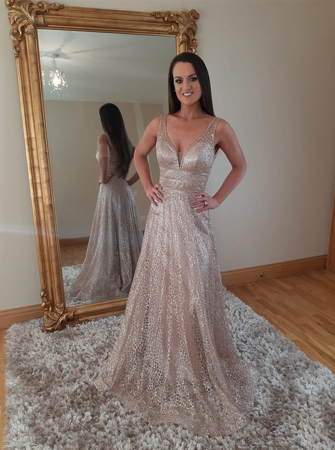 Shiny A-line V-neck Sweep Train Tulle Prom Dress with Gold Stamping