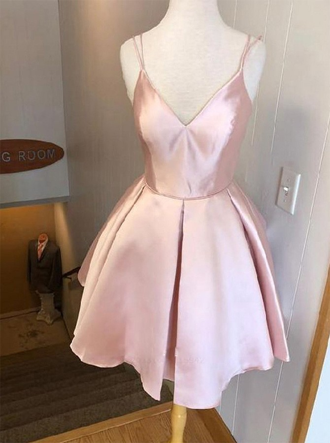 Lovely Short Pink Spaghetti Straps Zipper-UP Homecoming Dress