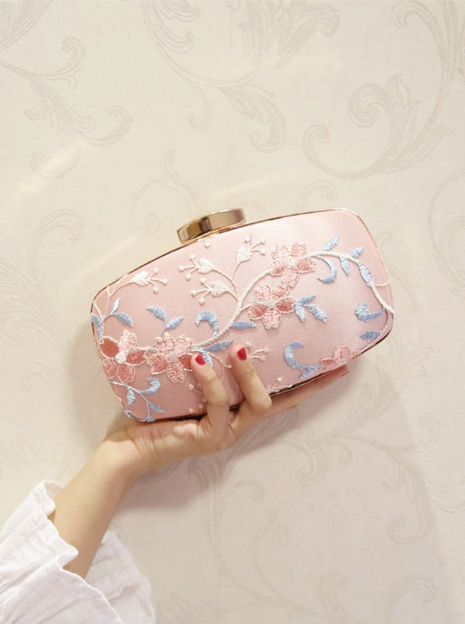 Pink Embroidery Clutch/Satchel