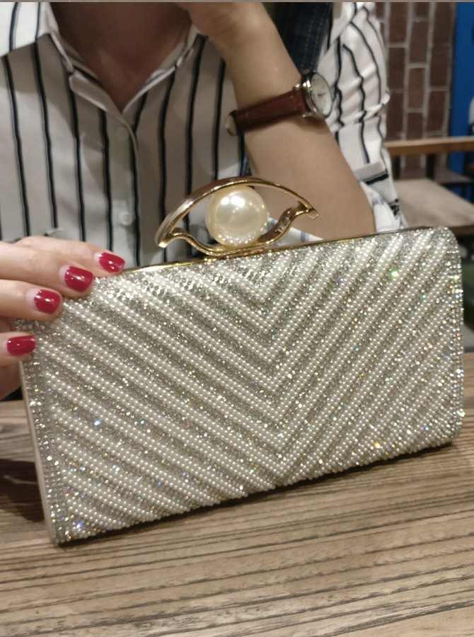 Silver Pearls Beaded Clutch