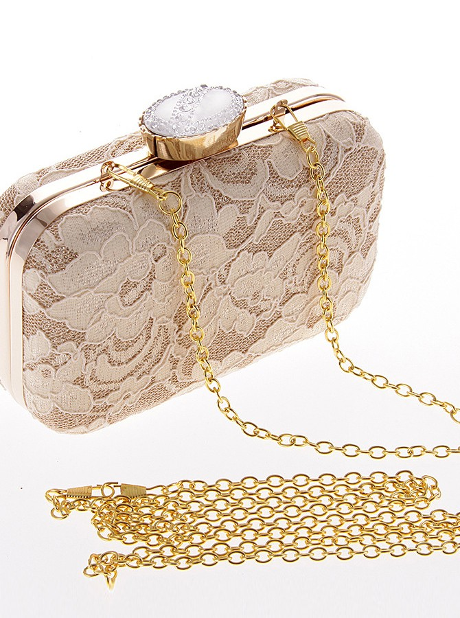 Apricot Lace Chain Clutch