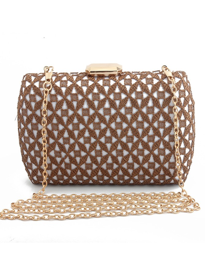 Brown Lace Chain Clutch Bag