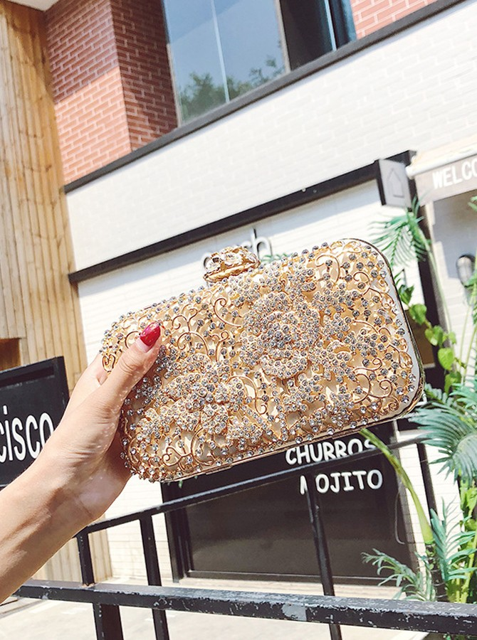Hollow-out Beaded Clutch