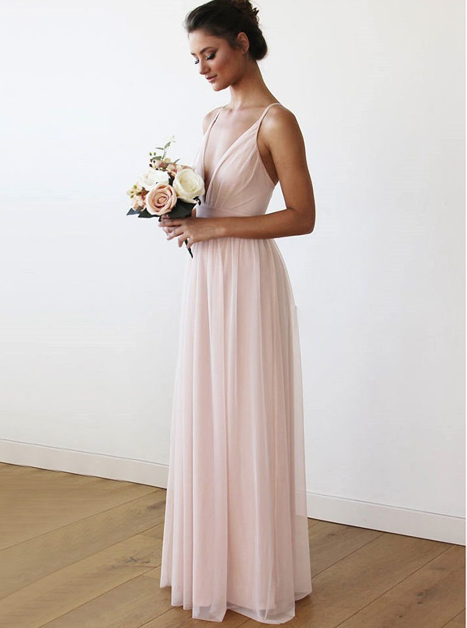 Simple A-Line V-Neck Floor-Length Pink Chiffon Bridesmaid Dress