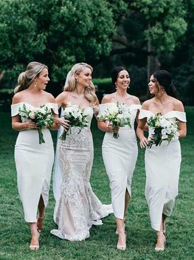 Sheath Off-the-Shoulder Ankle-Length White Bridesmaid Dress with Split
