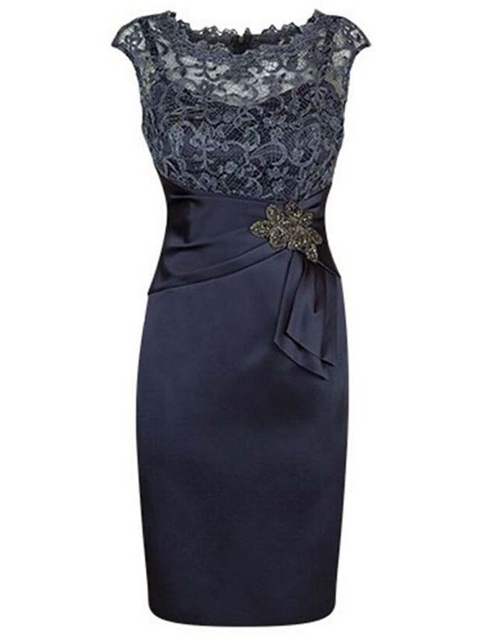 Sheath Bateau Cap Sleeves Navy Blue Mother of The Bride Dress with Lace Appliques