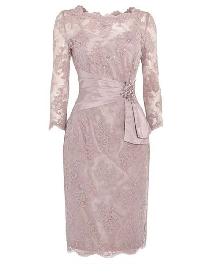 Sheath Scalloped-Edge 3/4 Sleeves Lace Mother of The Bride Dress with Beading