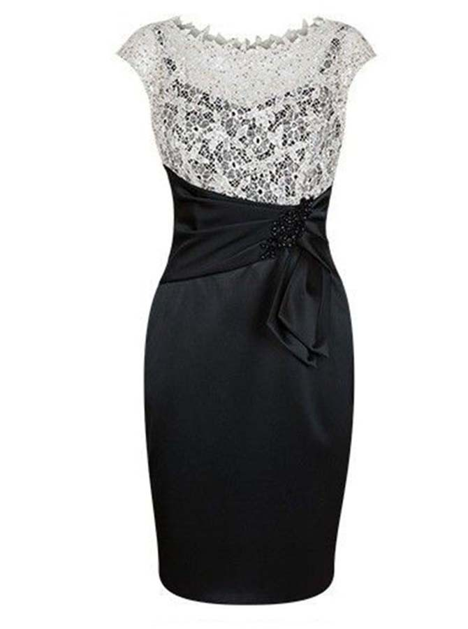 Black Sheath Short Scalloped-Edge Mother of The Bride Dress with Lace Beading