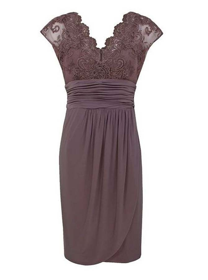 Sheath V-Neck Cap Sleeves Chocolate Spandex Mother of The Bride Dress with Lace