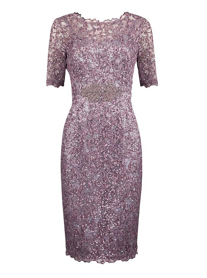 Sheath Bateau Short Sleeves Grape Sequined Mother of The Bride Dress with Beading