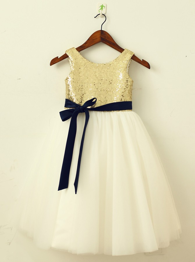 A-Line Round Neck Ivory Flower Girl Dress with Sequins Sash