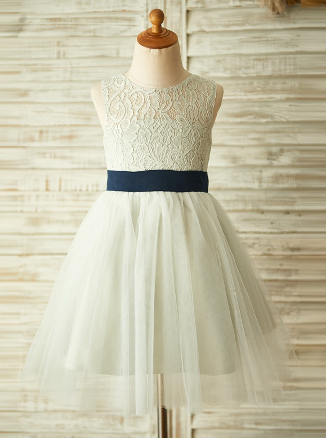 A-Line Round Neck Open Back Sage Flower Girl Dress with Lace Bowknot