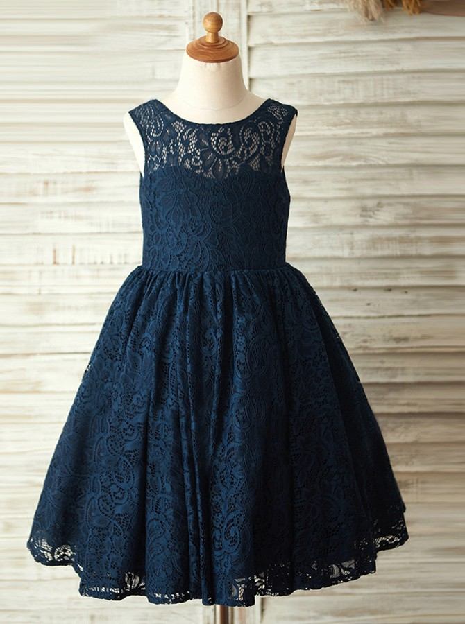 A-Line Round Neck Backless Navy Blue Lace Flower Girl Dress with Bowknot