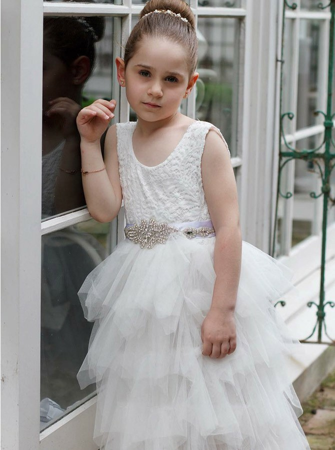 A-Line Scoop Long White Flower Girl Dress with Lace Beading Tiered