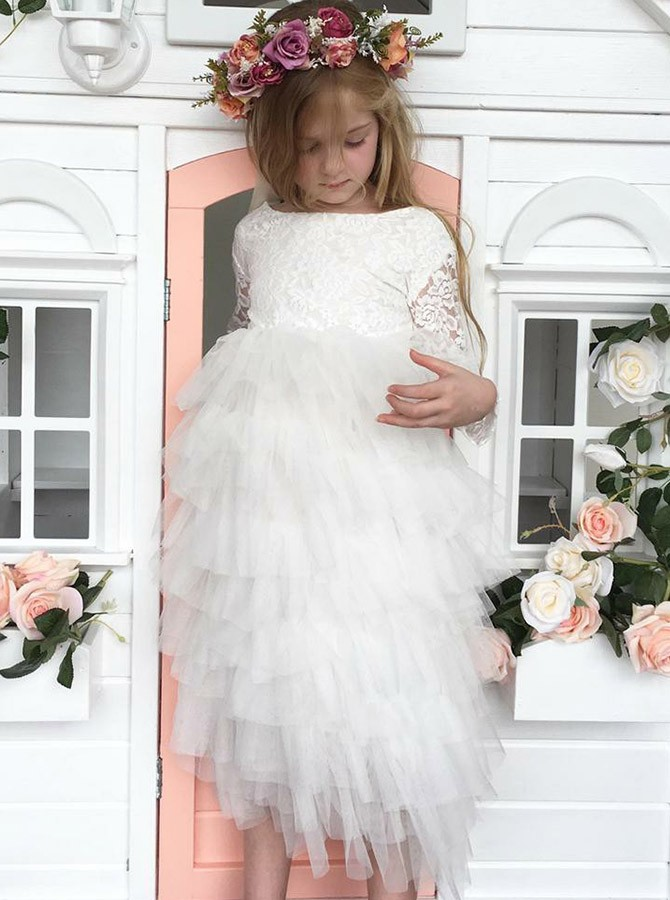 A-Line Bateau Long Sleeves Flower Girl Dress with Lace Tiered