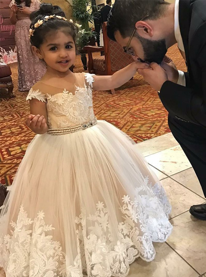 Ball Gown Scoop Floor-Length White Flower Girl Dress with Appliques Beading